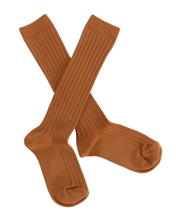 Ribbed knee high socks - brick