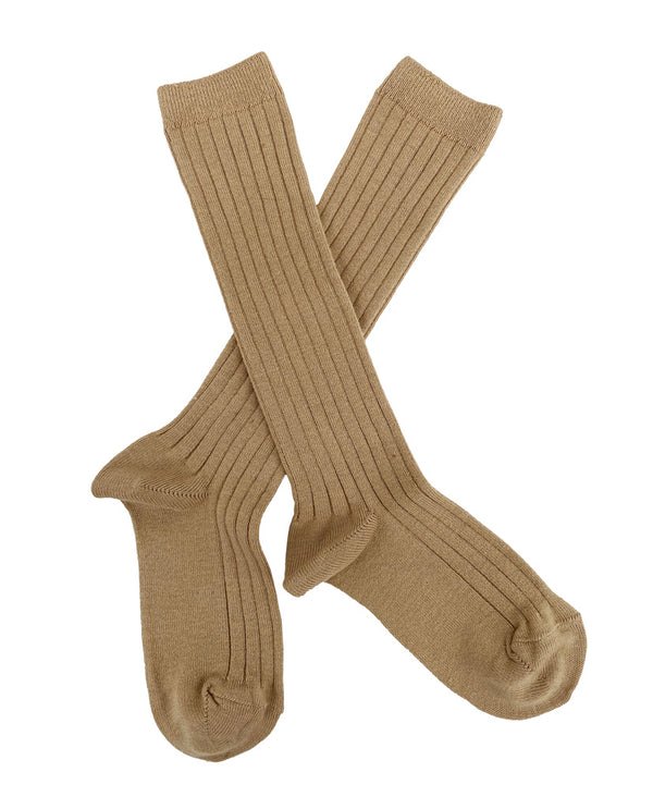 Ribbed knee high socks - camel
