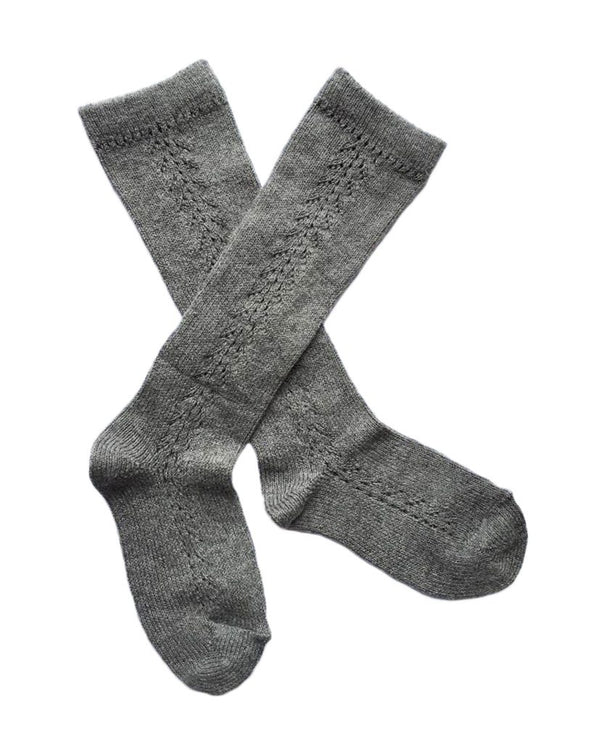 Openwork knee high socks • grey