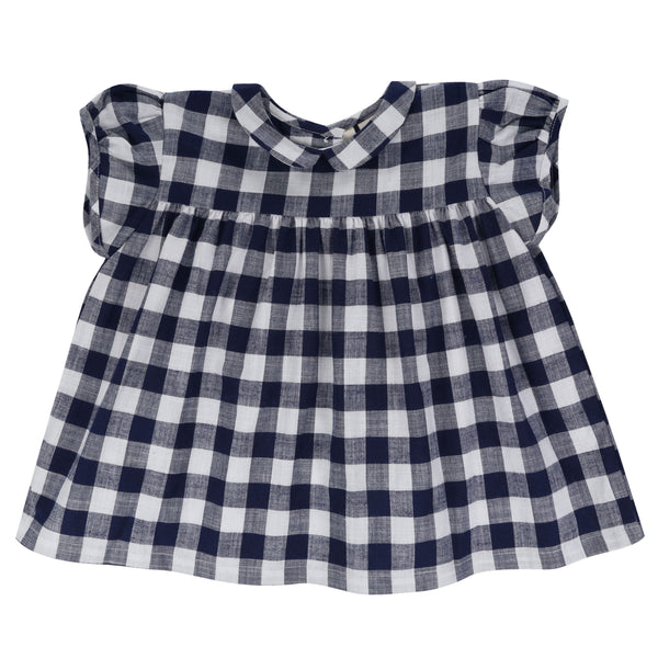 Juno Blouse - navy blue textured gingham