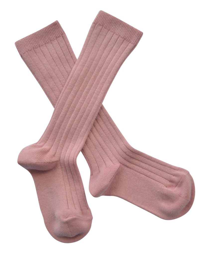 Ribbed knee high socks - dusty pink
