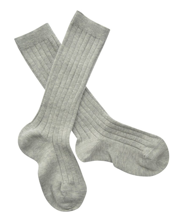 Ribbed knee high socks - grey