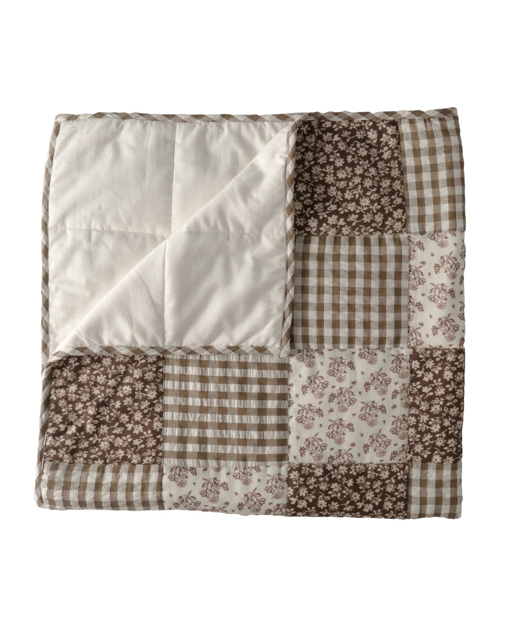 Patchwork blanket - single - nut floral