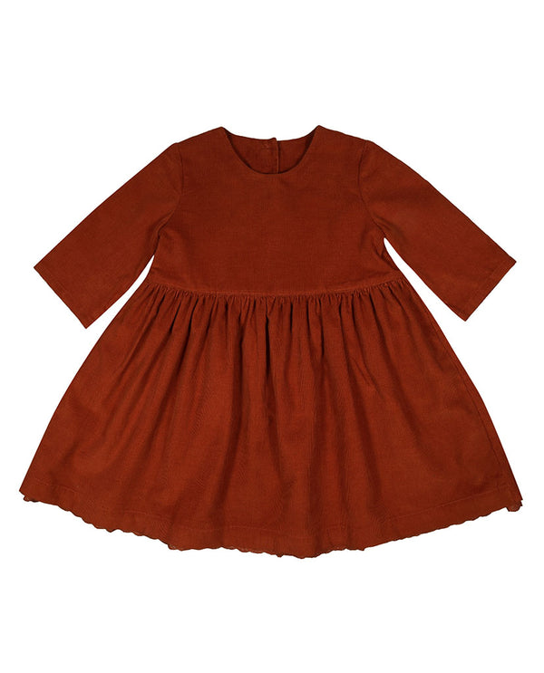 Ingrid dress - rust needlecord