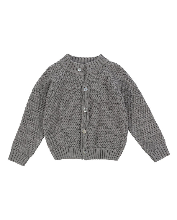 Hastings Cotton Moss Stitch Cardigan - grey