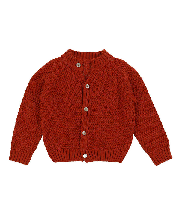 Hastings cotton moss stitch cardigan - rust