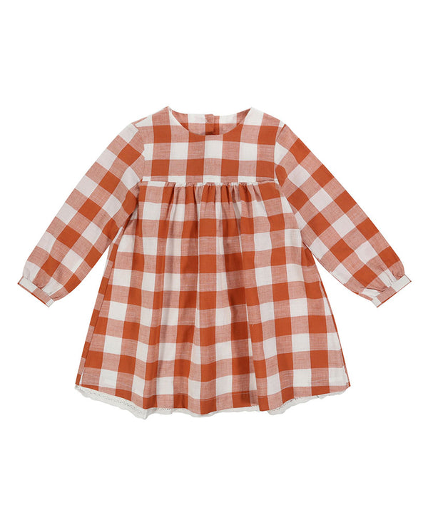 Delsey Dress - rust gingham