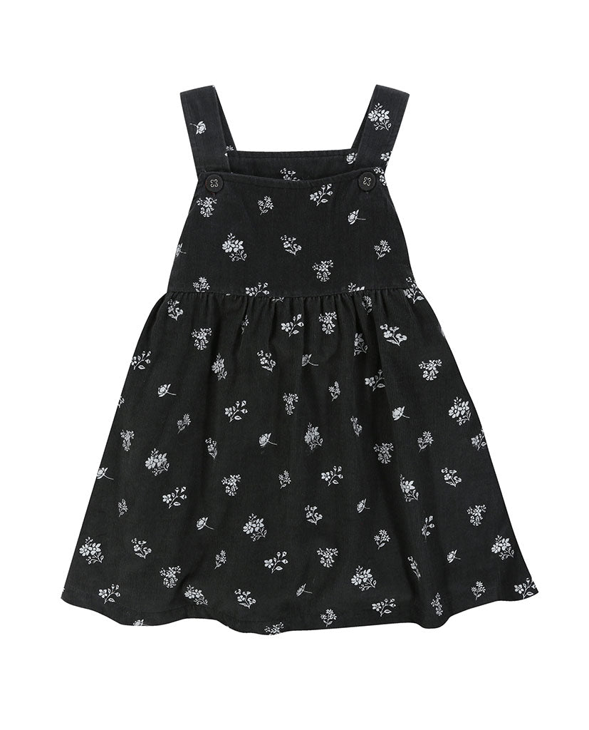 Tabitha Pinafore - floral needle cord charcoal