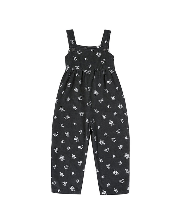 Margo Dungarees - charcoal floral needle cord