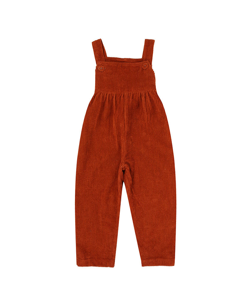 Margo Dungarees - rust chunky cord