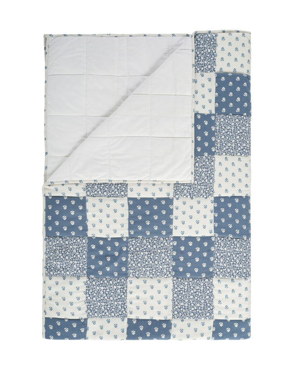 Patchwork throw - single - blue floral