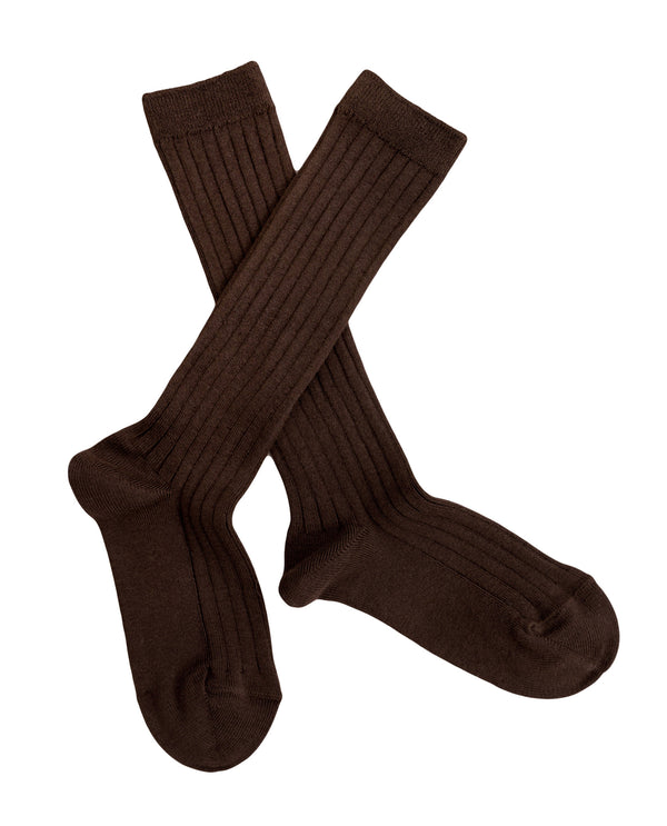Ribbed knee high socks - chocolate *NEW*