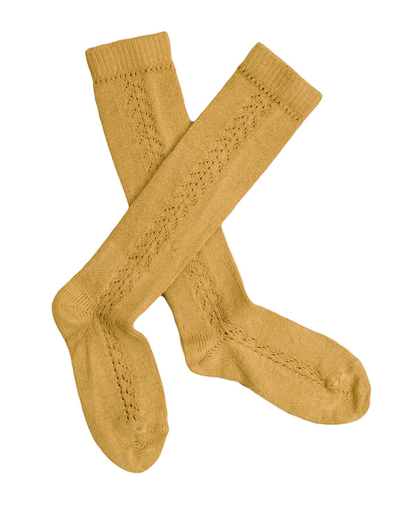 Openwork knee high socks - mellow mustard *NEW*