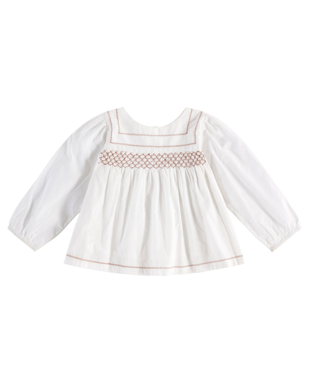 Charlotte blouse – off-white with clay smocking