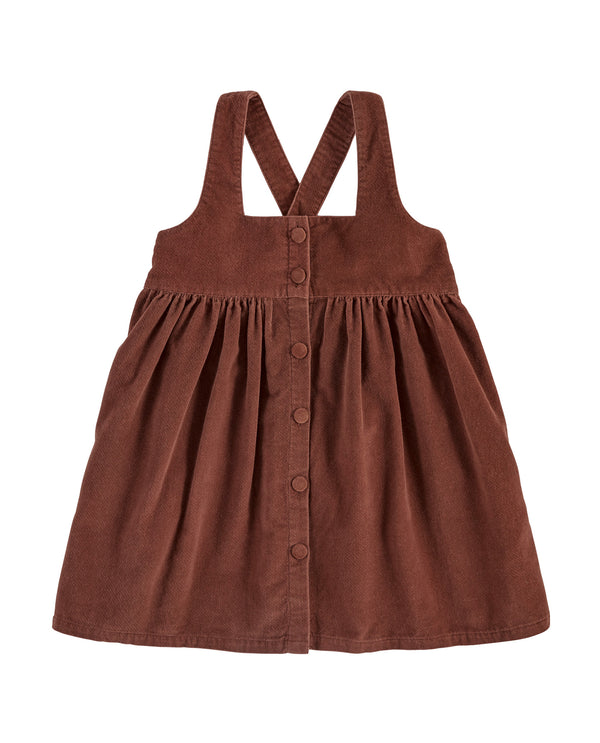 Dorcas pinafore – clay velvet