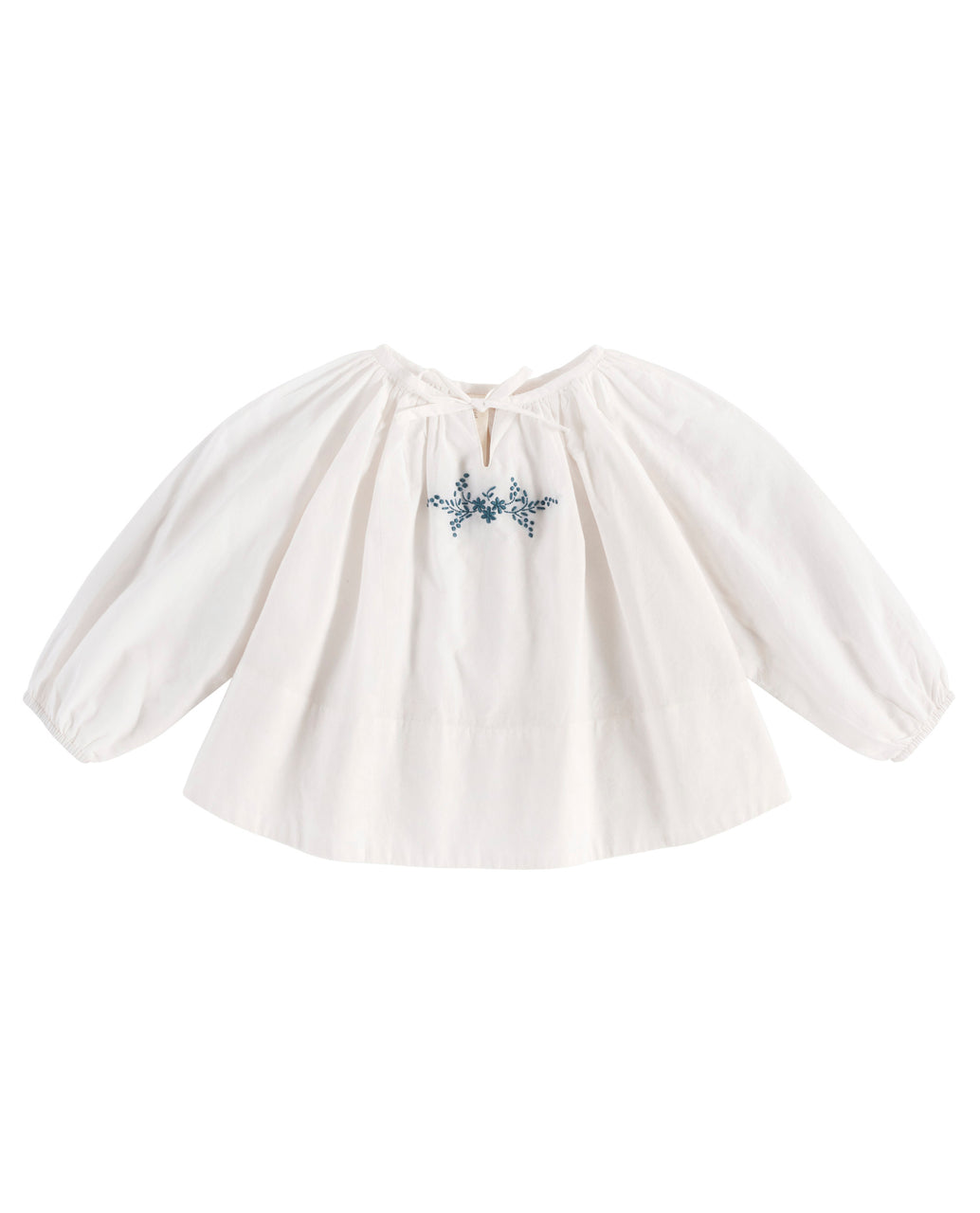 Olive blouse - off-white cotton with embroidery