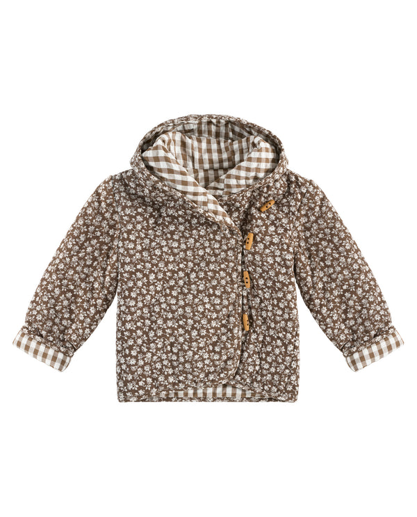 Jojo Reversible Jacket- seersucker gingham and floral cord in nut