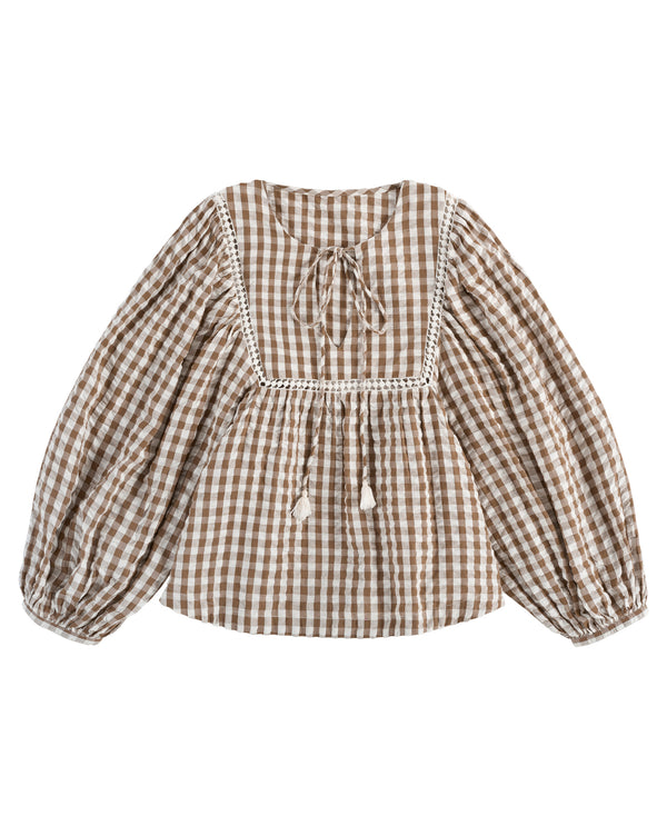 Vivienne blouse - seersucker gingham in nut - womenswear