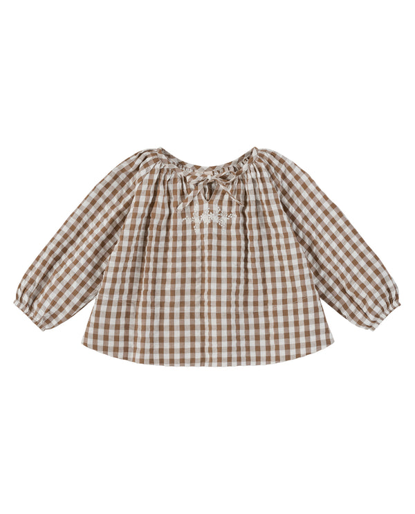 Olive blouse - seersucker gingham with embroidery