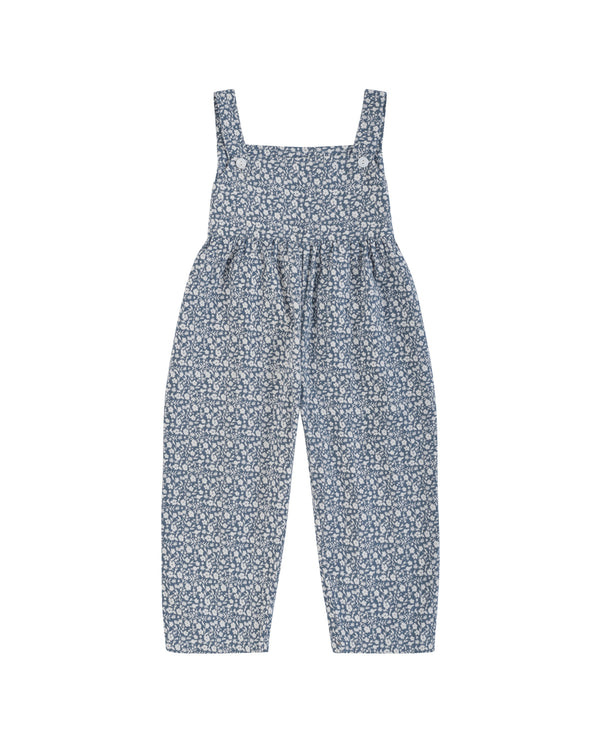 Margo dungarees - blue floral brushed cotton