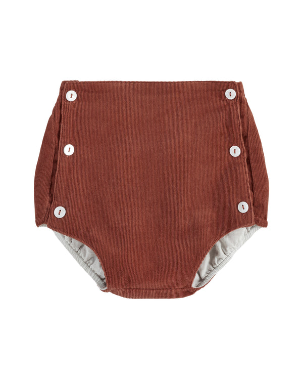 Folkestone button front bloomers - clay corduroy