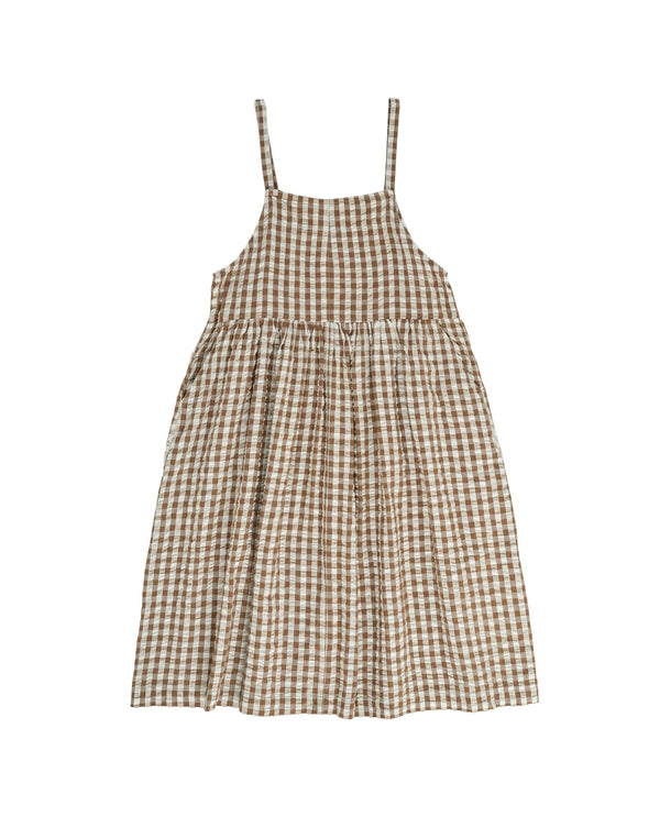 Thalia pinafore - nut seersucker gingham - womenswear