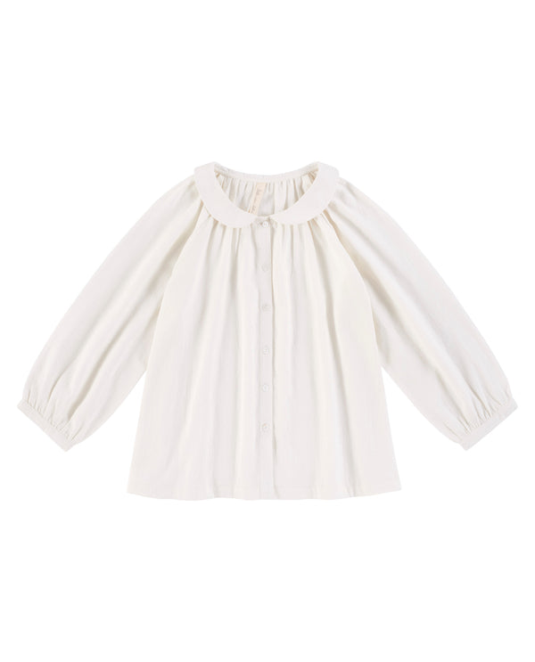 Petra smock blouse - off-white cotton moss crepe - womenswear