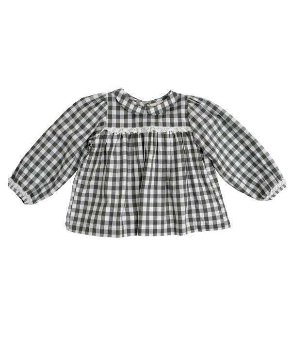 Emma blouse - forest green gingham
