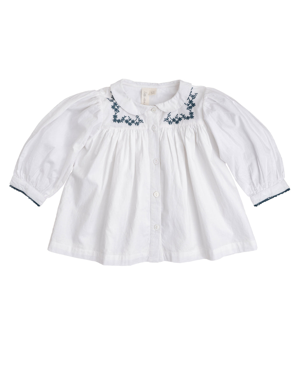 Eleanor blouse – off-white with blue embroidery