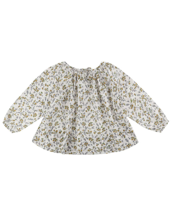 Olive smock blouse - yellow meadow floral