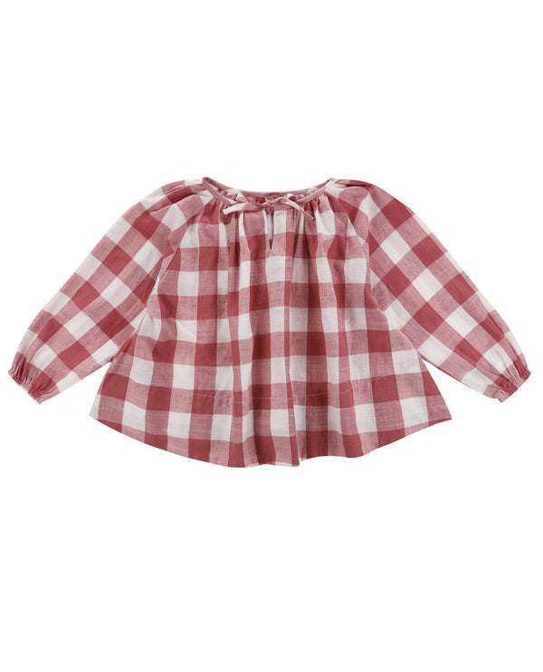 Olive smock blouse - textured gingham in mulberry