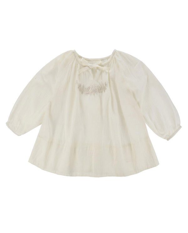 Embroidered Olive Smock Blouse -  chalk