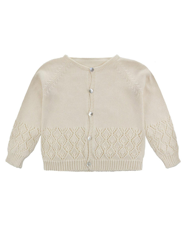 Ottilie Lace Stitch Cardigan - buttermilk