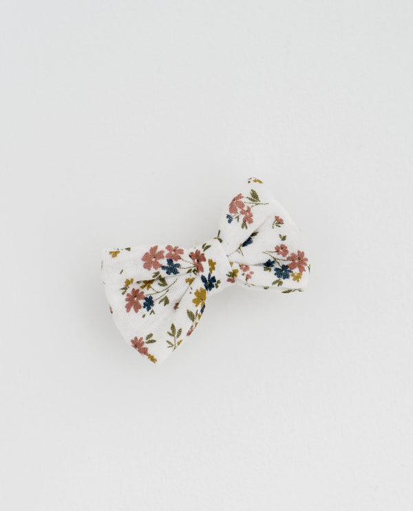 Small hair bow - Aster floral in muslin