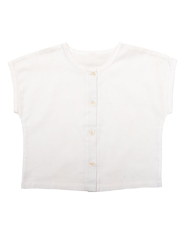 Brighton Tee - white cotton-linen