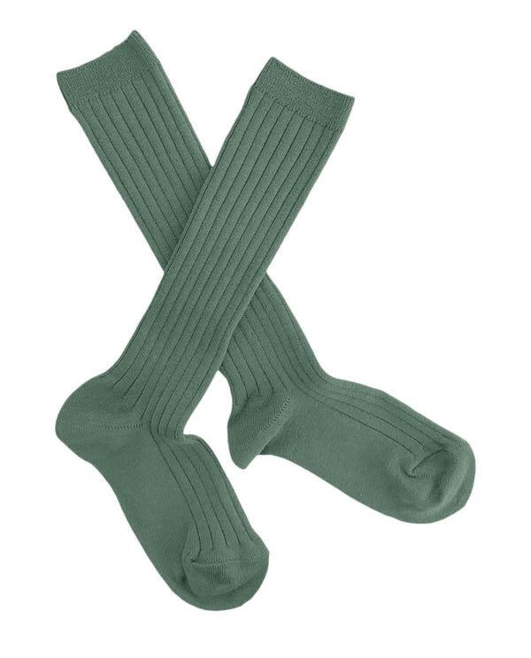 Ribbed knee high socks - moss