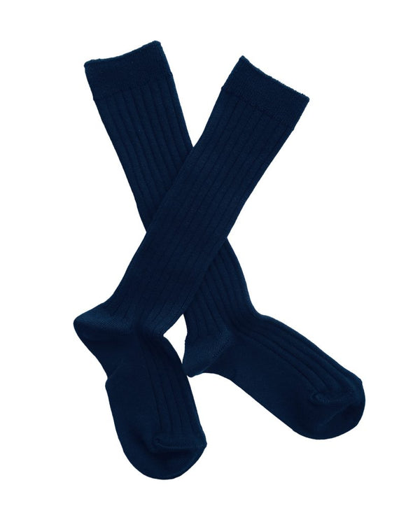 Ribbed knee high socks • navy