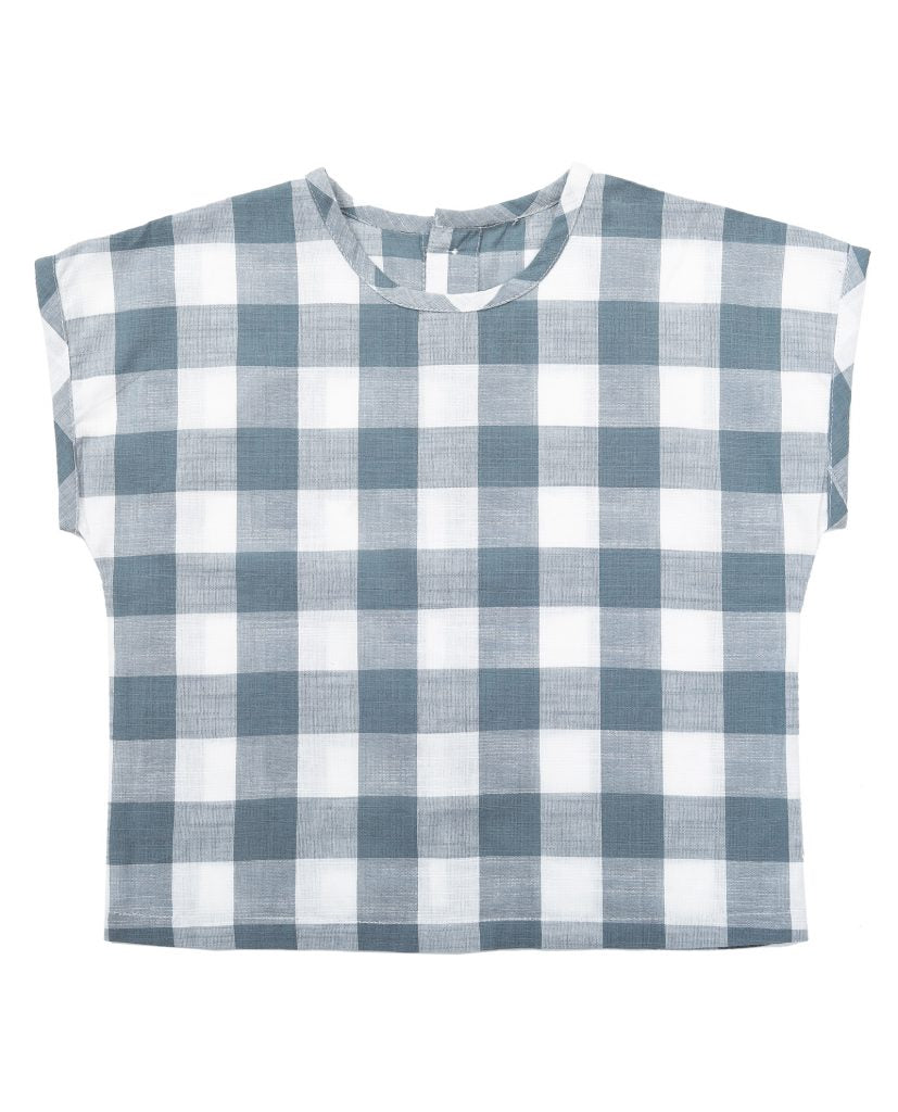 Margate Tee - textured blue gingham