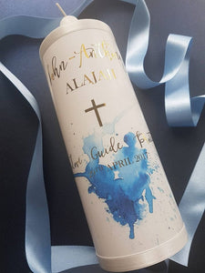 """John-Anthony"" Baptism Christening Candle (Choose your colours)"