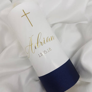 """Adrian"" Baptism Christening Candle (Choose your colours)"
