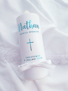 """Nathan"" Baptism Christening Candle (Choose your colours)"