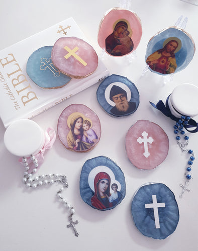 Religious Agate Look Coaster Plaques
