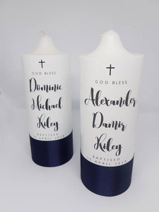 """Anton"" Baptism Christening Candle (Choose your colours)"