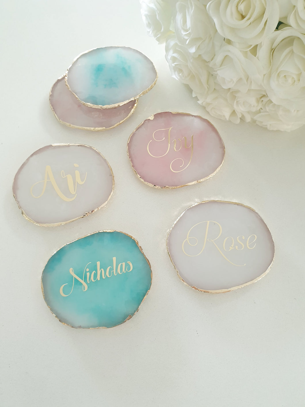Personalised Agate Look  Coasters/Place Cards