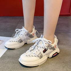 PLUTO Lace Up Solid Mesh Sneakers Women - White
