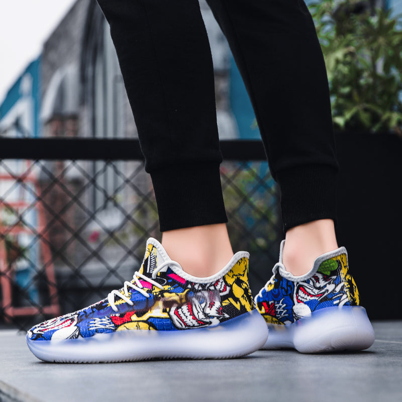 'Le Démon' Colorful Graffiti Lace Up Sneakers