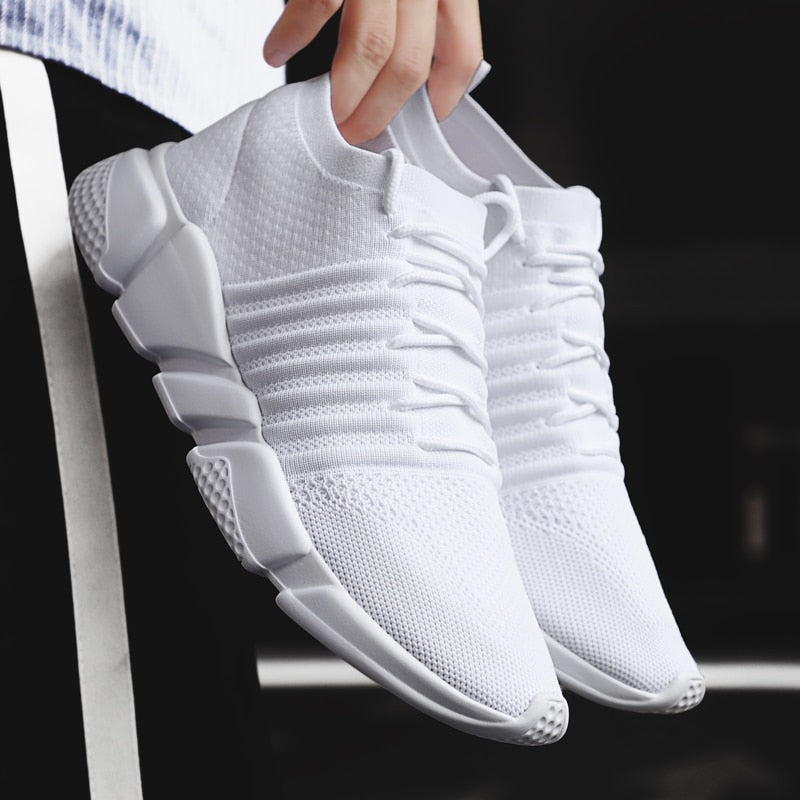 FLIGHT Lace Up Plain Striped Knit Mesh Sneakers