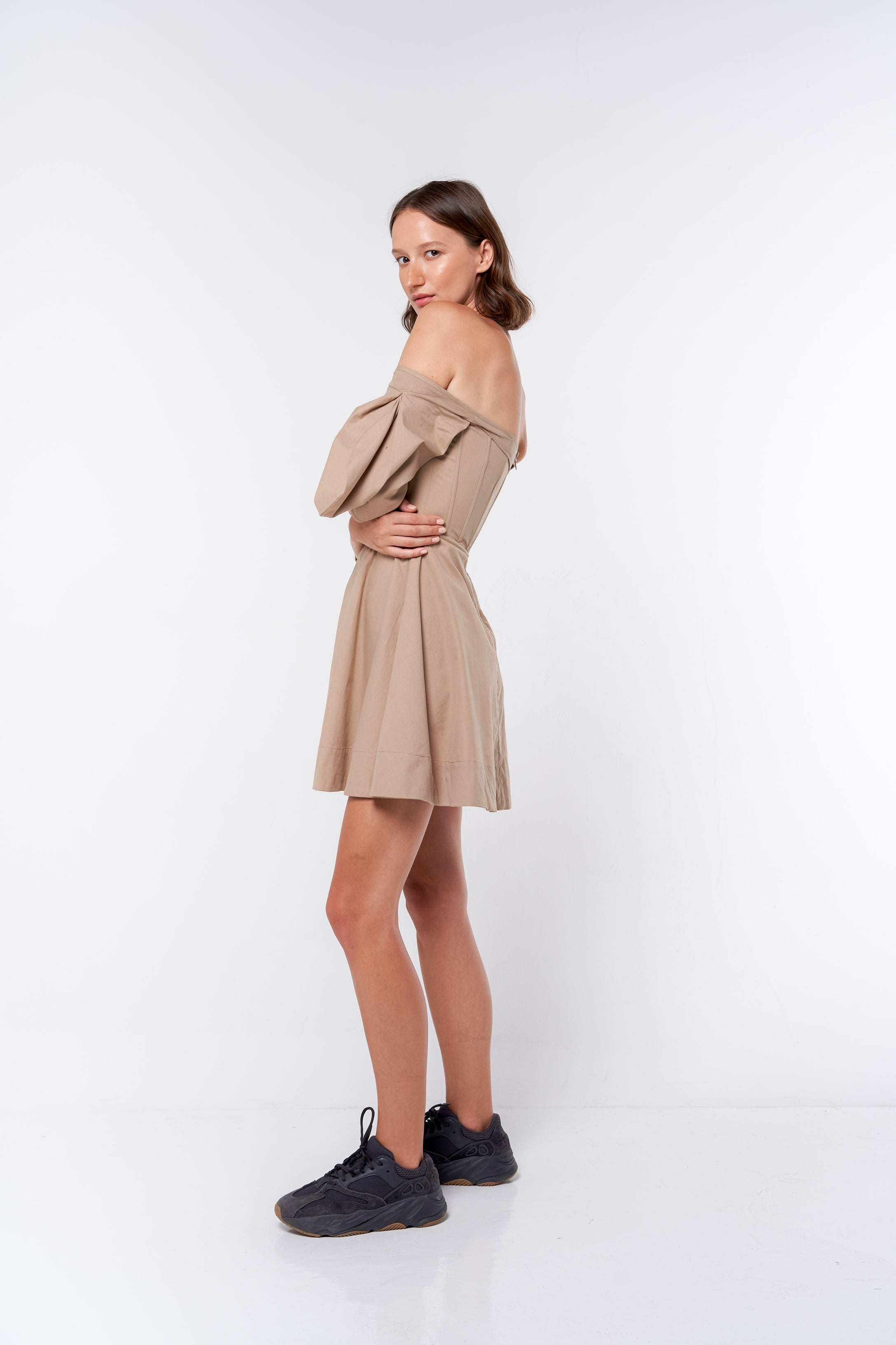 Corset Mini Dress - tan