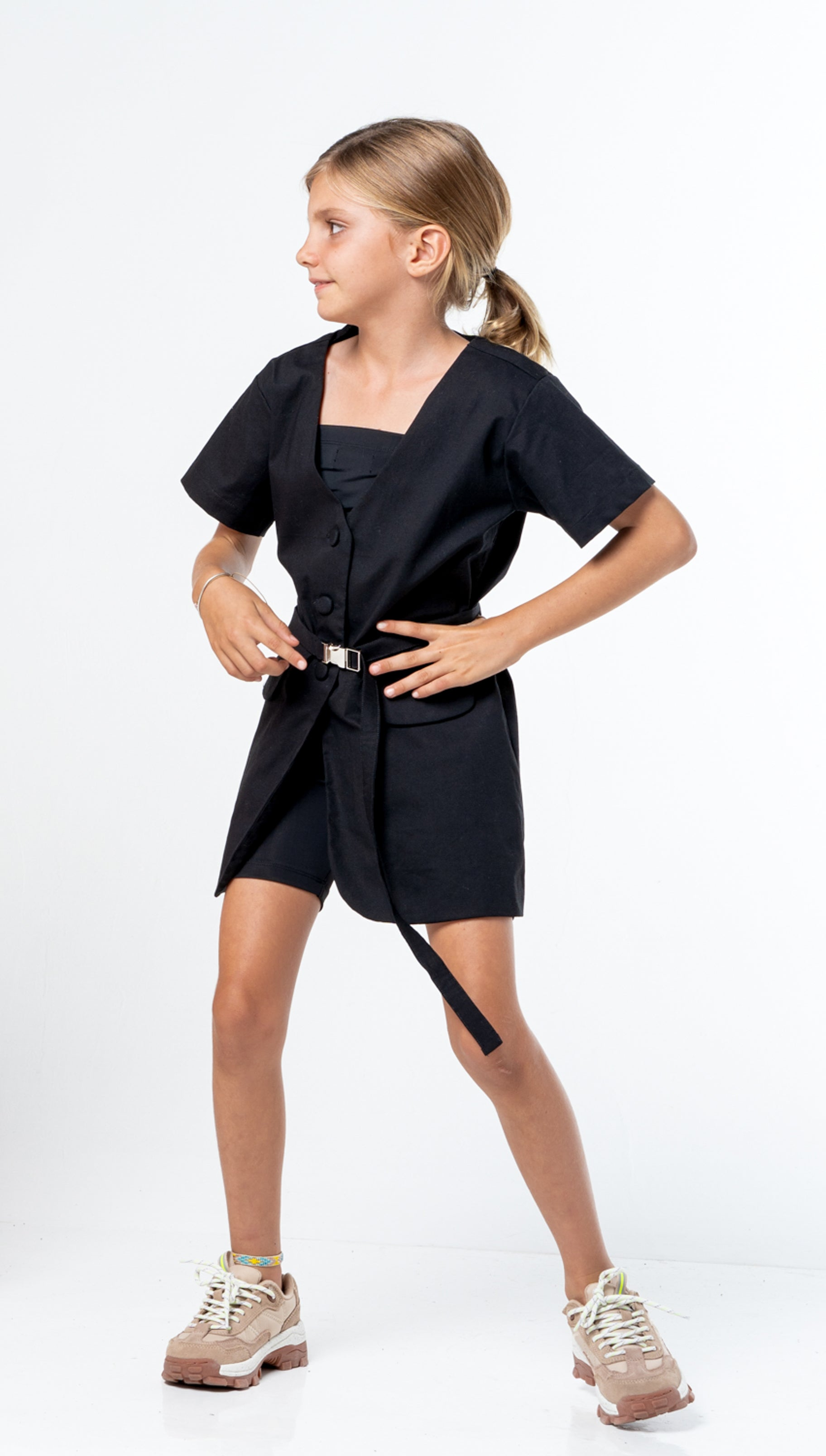 Belted Jacket Dress - black