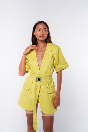 Belted Jacket Dress - neon